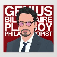 robert downey jr Canvas Prints featuring Robert Downey Jr/IronMan by William Dowling