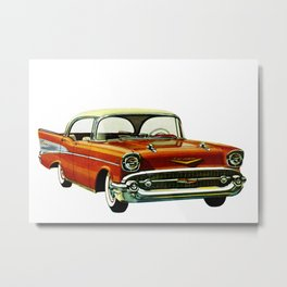 Vintage 1957 Red Bel Air Sport Sedan Metal Print