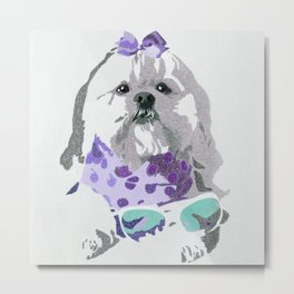 Beausy Bear Purple Metal Print