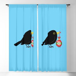Cute Blackbird With A Christmas Ball Blackout Curtain