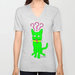 """Heckin Confused Derp Cat"", by Brock Springstead Unisex V-Neck"