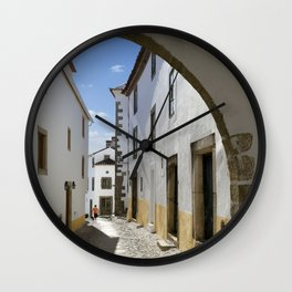 Marvao cobbled street Wall Clock