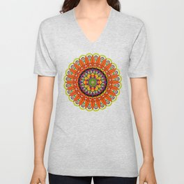 Mandala Sunflower Unisex V-Neck