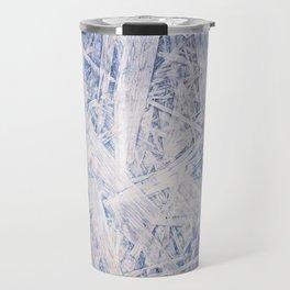 Blue chipboard texture abstract Travel Mug