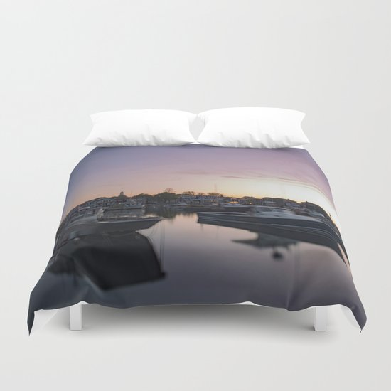 Rockport Harbor at twilight Duvet Cover