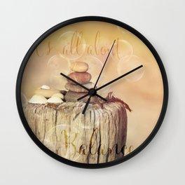 Balance Stone Cairn Sunset  Bubbles Light Wall Clock