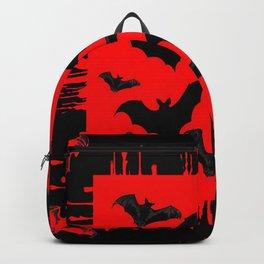 RED HALLOWEEN BATS ON BLEEDING RED ART DESIGN Backpack