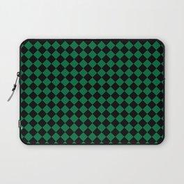 Black and Cadmium Green Diamonds Laptop Sleeve