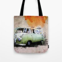 volkswagen Tote Bags featuring vintage volkswagen by d.ts