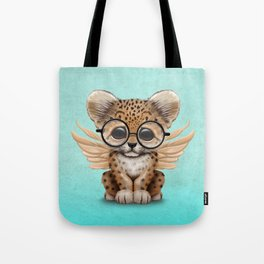 Cute Leopard Cub Fairy Wearing Glasses on Blue Tote Bag