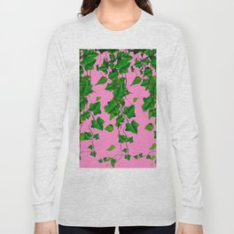 GREEN IVY HANGING LEAVES & VINES ON PINK Long Sleeve T-shirt