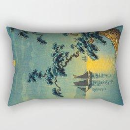 Tsuchiya Koitsu Maiko Seashore Japanese Woodblock Print Night Time Moon Over Ocean Sailboat Rectangular Pillow