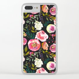 black and pink floral Clear iPhone Case