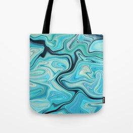 Marbled Frenzy Turquoise Tote Bag