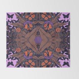monarchs and milkweed Throw Blanket