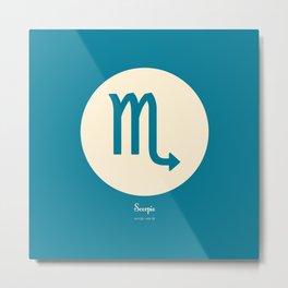 Scorpio Symbol Blue Metal Print