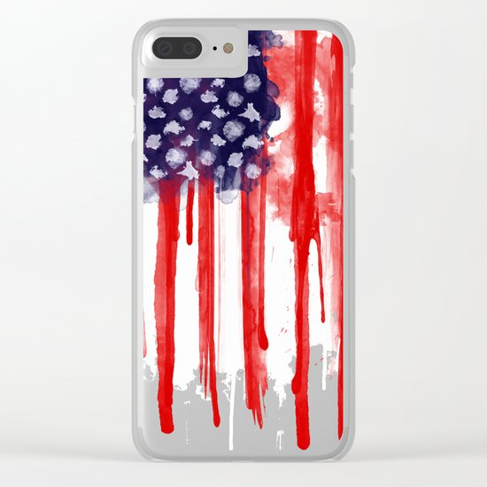 American Spatter Flag Clear iPhone Case