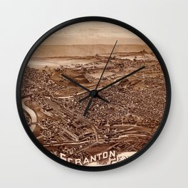 Map Of Scranton 1890 Wall Clock