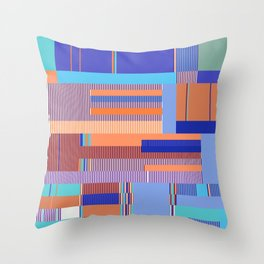 Scandinavian Moon (Blue Salmon Colours) Throw Pillow