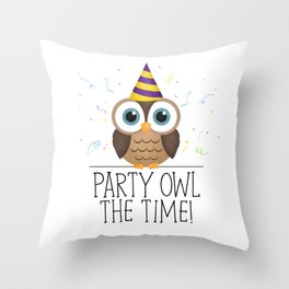 Party Owl The Time Throw Pillow