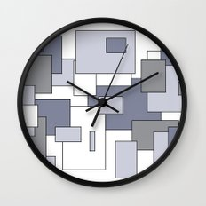 Squares - gray, purple and white. Wall Clock
