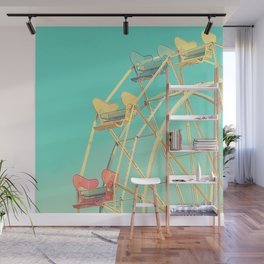 Vintage fairground photograph, teal, red, yellow, Ferris Wheel Wall Mural