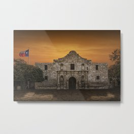 The Alamo Mission in San Antonio Texas with the Lonestar Flag Flying No.0256 A Fine Art Historical P Metal Print
