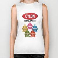 battlestar Biker Tanks featuring Cylon Frak Paint by Don Calamari