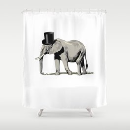 Elephant Wearing Top hat Shower Curtain
