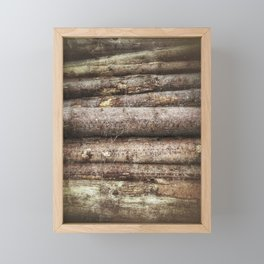 Big felled trees at the lumbermill Framed Mini Art Print
