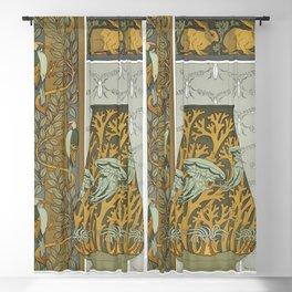 Piverts et arbre bordure verticale Lapins et feuilles bordure Meduses anemones de mer et algues vase Blackout Curtain