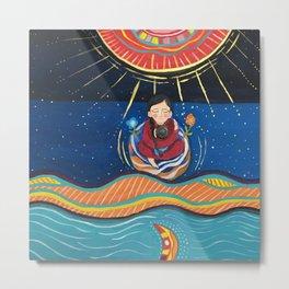 The Sun and the Moon, flowers and a woman | Yuko Nagamori Metal Print