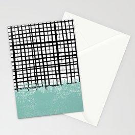 Mila - handpainted grid lines crosshatch weave with mint sage stripe minimalist nursery Stationery Cards