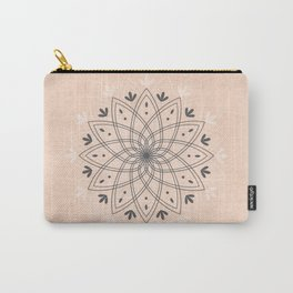 Bohemian Floral Mandala on Rose Pink Marble Carry-All Pouch