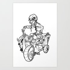 Skull Boy  on a Tricycle  Art Print