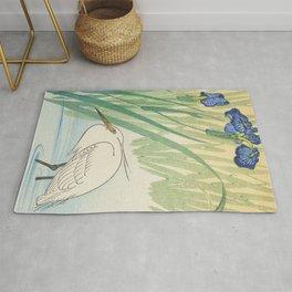 Egret and blue swamp flowers - Vintage Japanese Woodblock Print Rug