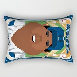 Baseball Blue Pinstripes - Rhubarb Pitchbatter - Hayes version Rectangular Pillow