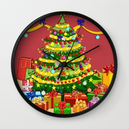 Presents under Christmas Tree Wall Clock