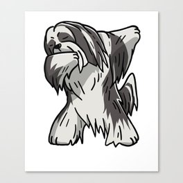 Funny Dabbing Lhasa Apso Dog Dab Dance Canvas Print