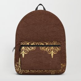 Brown leather texture gold frame Backpack