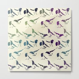 Magpies Repeating Pattern Metal Print