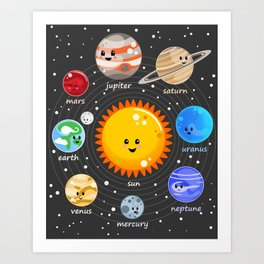 Solar system Kawaii style Art Print