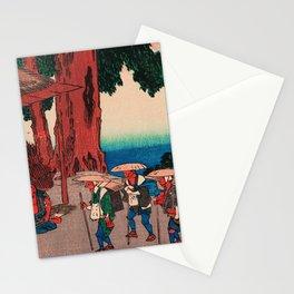 Travelers at Minakuchi station Japan Stationery Cards