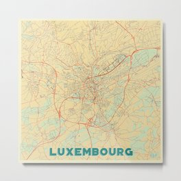 Luxembourg Map Retro Metal Print