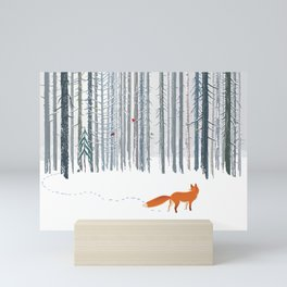 Fox in the white snow winter forest illustration Mini Art Print