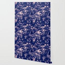 Soft Leaves in Blue/ Cheekwood Gardens Wallpaper