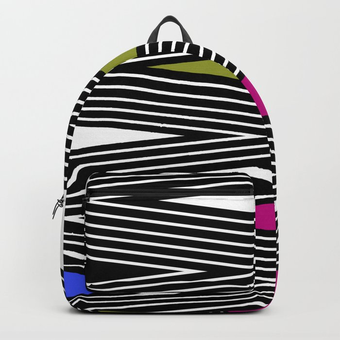 Abstract black and white Zigzag pattern of Multicolored triangles . 1 . Backpack