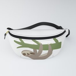 Three-toed sloth on green branch Fanny Pack