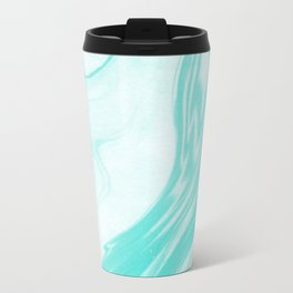 Enoshima - spilled ink abstract painting water ocean japanese wave marble marbling marbled pattern Travel Mug