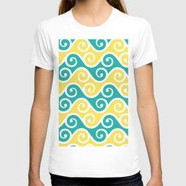 Aqua and Yellow Wavy Ripple Pattern Pantone 2021 Color Of The Year Illuminating 13-0647 T-shirt